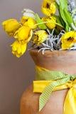Yellow Roses in Vase Stock Photo