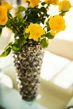 Yellow roses in a vase Royalty Free Stock Photography