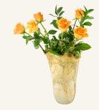 Yellow roses in vase Stock Photos