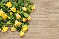 Yellow roses on wooden background. Stock Photo
