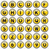 Yellow Round Alphabet Buttons Stock Image