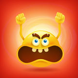 Yellow round angry smiley face Royalty Free Stock Image