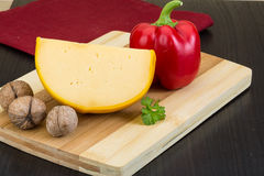 Yellow round cheese Stock Image
