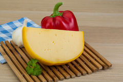 Yellow round cheese Royalty Free Stock Photography