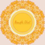 Yellow round decorative flower frame Stock Image