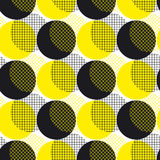 Yellow round geometry seamless pattern vector illustration surfa. Ce design for print and web. Memphis post-modernist style motif. Pop art repeatable fabric Royalty Free Stock Photo