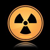 Yellow round icon radiation sign Stock Image