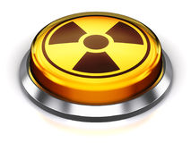 Yellow round nuke button with nuclear radiation symbol Royalty Free Stock Image