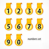 Yellow round numbers on sticker Royalty Free Stock Images