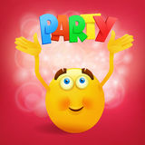 Yellow round smiley face with party title Stock Images