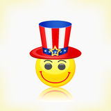 Yellow Round Smiley Face Wearing American Hat Royalty Free Stock Images