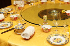 Yellow round table Royalty Free Stock Photo