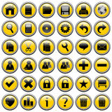Yellow Round Web Buttons [1]. 36 website and application round buttons isolated on white background. Each button is 750x750 pixels. Yellow Round Web Buttons – Stock Image