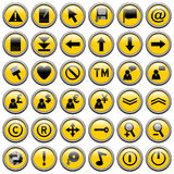 Yellow Round Web Buttons [2]. 36 website and application round buttons isolated on white background. Each button is 750x750 pixels. Yellow Round Web Buttons – Stock Photography