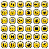 Yellow Round Web Buttons [3]. 36 website and application round buttons isolated on white background. Each button is 750x750 pixels. Yellow Round Web Buttons – Stock Images