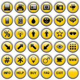 Yellow Round Web Buttons [4]. 36 website and application round buttons isolated on white background. Each button is 750x750 pixels. Yellow Round Web Buttons – royalty free illustration