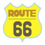 Yellow route 66 shield icon, cartoon style Stock Photo
