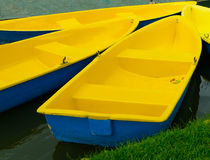 Yellow row boats. In a river Royalty Free Stock Photography