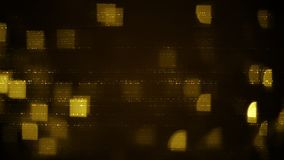 Yellow rows of abstract symbols and squares blurred lights Stock Photos