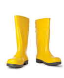 Yellow rubber boots. Isolated on white Royalty Free Stock Images