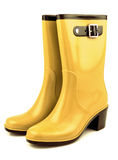 Yellow rubber boots. Isolated on white background Royalty Free Stock Photos