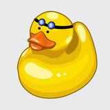 Yellow rubber duck, baby toy closeup Stock Photo