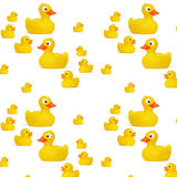 Yellow rubber duck baby toy. Pattern yellow rubber duck baby toy white background Stock Photography