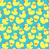 Yellow rubber duck and bubbles seamless kid's pattern Stock Photo