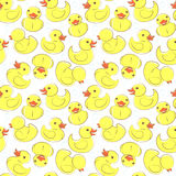 Yellow rubber duck and bubbles seamless kid's pattern. Vector illustration Yellow rubber duck and bubbles seamless kid's pattern Stock Photos