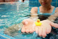 Yellow rubber duck in hands at swimming pool. Royalty Free Stock Photography