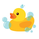 Yellow Rubber Duck Icon Vector Illustration. Clipart Royalty Free Stock Photos