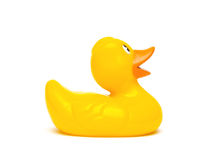 A yellow rubber duck isolated on a white background
