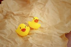 Yellow rubber duck on a light brown background. Royalty Free Stock Image