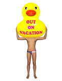 Yellow Rubber Duck Out On Vacation Illustration Stock Image