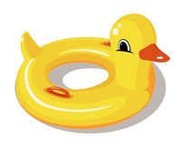Yellow rubber duck swimming circle. Duck float Stock Images