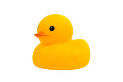 Yellow rubber duck toy, isolated on white background. Stock Photos