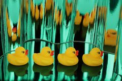 Yellow rubber ducks on green metallic shimmers background. Image stock photography