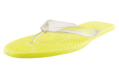 Yellow Rubber flip-flops isolated Royalty Free Stock Photos
