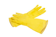 Yellow rubber gloves royalty free stock photography