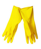 Yellow kitchen gloves Stock Photography