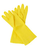 Yellow rubber gloves Stock Photography