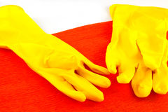 Yellow rubber gloves Royalty Free Stock Image