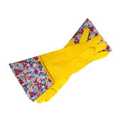 Yellow Rubber gloves with colorful border Stock Photos