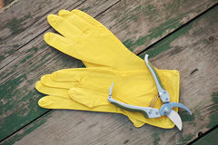 Yellow rubber gloves and garden pruner on wooden background. Stock Image
