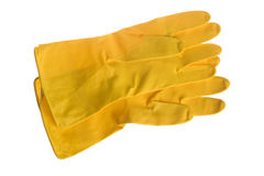 Yellow rubber gloves isolated on white Stock Image