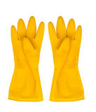 Yellow rubber gloves isolated on white Stock Photos