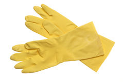 Yellow rubber gloves isolated on white Royalty Free Stock Photography