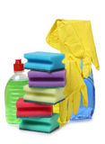Yellow rubber gloves Royalty Free Stock Images