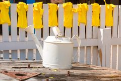 Yellow rubber gloves for work in a garden and a kitchen dry on a white fence and white watering can in the foreground in the summe stock photos