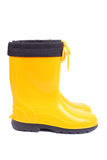 Yellow rubber shoes, side view Royalty Free Stock Image